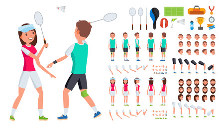 Badminton Player Male, Female . Animated Character Creation Set. Man, Woman Full Length, Front, Side, Back View. Badminton Accessories. Poses Emotions Gestures Flat Illustration Imagens