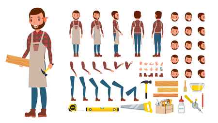 Carpenter . Animated Professional Character Creation Set. Workshop, Wood Work Tool. Full Length, Front, Side, Back View. Cartoon Illustration
