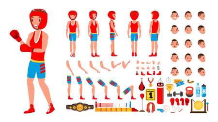 Boxing Player . Animated Character Creation Set. Fighting Sportsman Male. Full Length, Front, Side, Back View, Accessories, Poses, Face Emotions Gestures Isolated Cartoon Illustration