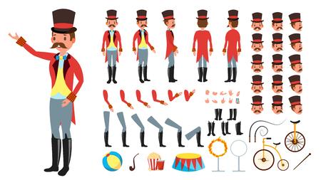 Entrenador de circo. Conjunto de creación de personajes animados. Longitud total, frontal, lateral, vista posterior, accesorios, poses, gestos de peinado de emociones faciales ilustración plana aislada Foto de archivo