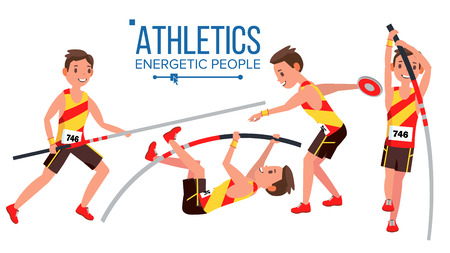 Athletics Male Player . In Action. Sport Concept. Jogging Race. Sportswear. Individual Sport. Cartoon Character Illustration