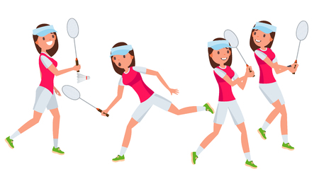 Badminton Young Woman Player . Girl Athlete Player. Jumping, Practicing. Flat Cartoon Illustration