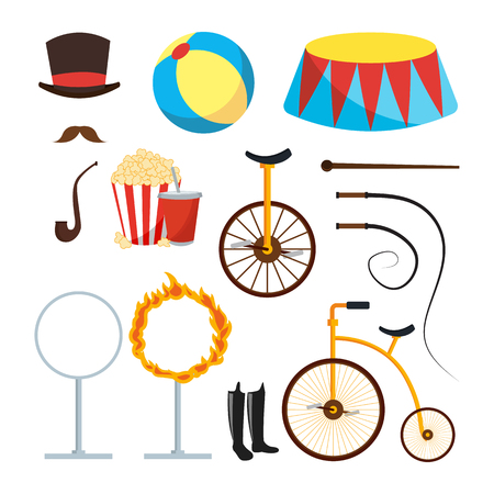 Circus Trainer Items Set . Circus Accessories. Hat, Mustache, Ball, Podium, Stand, Whip, Tobacco Popcorn Soda Bicycle Fire Ring Boots Isolated Stock Photo