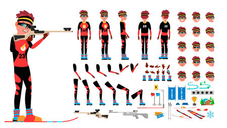 Biathlon Player Male . Animated Character Creation Set. Man Full Length, Front, Side, Back View, Accessories, Poses, Face Emotions, Gestures Isolated Illustration