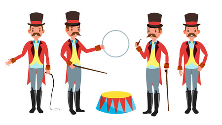 Circus Trainer . Amusement Park. Mustache, Red Cloak, Cylinder, Whip. Isolated Flat Cartoon Character Illustration Stock Photo