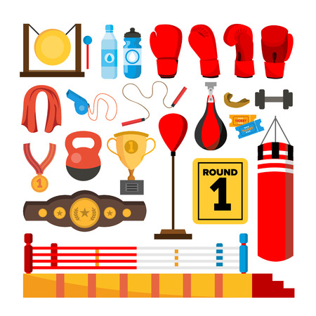 Boxing Equipment Tools Set . Box Accessories. Boxer, Ring, Belt, Punch Bags, Red Gloves, Helmet Isolated Cartoon Illustration