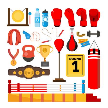 Ensemble d'outils d'équipement de boxe. Accessoires de boîte. Boxer, anneau, ceinture, sacs de frappe, gants rouges, illustration de dessin animé isolé casque