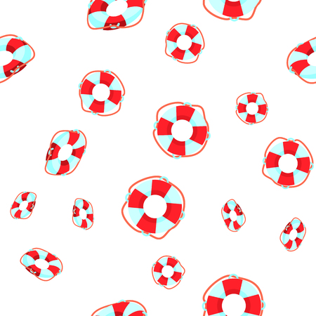 Life Buoy Falling Cartoon Vector Seamless Pattern. Striped Life Buoy, Ring Textile, Fabric, Backdrop. Rescue, Safety Swimming Equipment On White Background. Marine, Sea Style Flat Illustration
