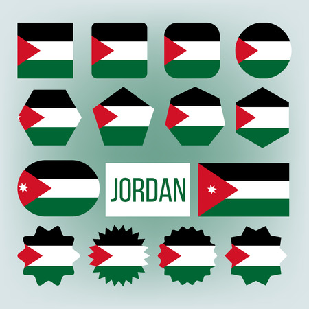 Jordan Various Shapes Vector National Flags Set. Hashemite Kingdom of Jordan Official Emblems Icons Collection. Country Circle, Square Ensign Pack. Arab Patriotic Symbols Flat Illustration