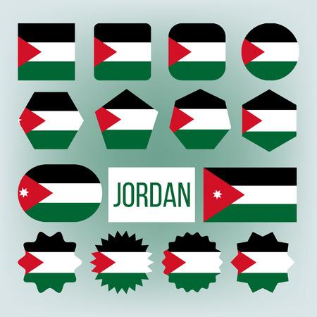 Jordanien verschiedene Formen Vektor Nationalflaggen Set. Haschemitisches Königreich Jordanien offizielle Embleme Icons Collection. Country Circle, Square Ensign Pack. Arabische patriotische Symbole flache Illustration Vektorgrafik