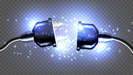 Disconnected Electrical Plug Vector Realistic 3D Illustration. Disconnected Electricity Cable Isolated Clipart. Unplug, Outlet Design Element. Wire And Sparkles On Transparent Background Çizim