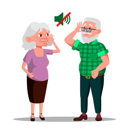 Gehörloser älterer Mann und Frau Vektor-Cartoon-Figuren. Stumm, älteres Ehepaar, alte Menschen, die an Taubheit leiden Großmutter und Großvater, die versuchen, flache Illustration zu hören Vektorgrafik