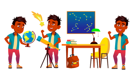 Astronomy, Astrophysics Student Vector Cartoon Characters Set. Astronomy Faculty, Space Exploration. Stars Observing. Young Astronomer, Scientist Studying, Looking At Telescope Flat Illustration Vektoros illusztráció