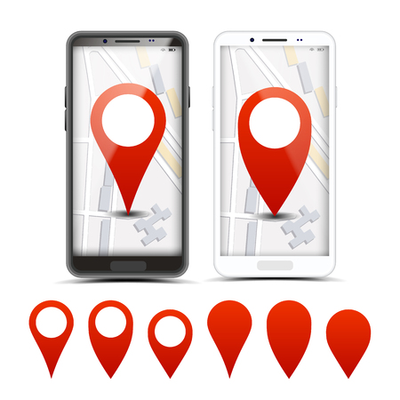 GPS Navigator Red Pointers, Vector Markers Set. City Map Pointer, Pinpoint On Smartphone Screen. Location, Destination. Route, Path Finding. Delivery, Shipping Services Realistic Illustration