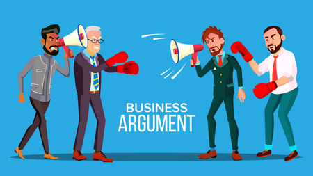 Business Argument Web Banner Cartoon Vector Template. Politicians, Opponents Shouting In Megaphone, Boxing. Marketing Campaign, Announcement. Debating, Discussion, Market Competition Flat Illustration