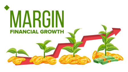 Margin, Financial Growth Vector Web Banner Template. Margin Profit, Income. Diagram, Chart, Graph Arrow. Saplings, Money, Coins Isolated Clipart Banking Business Analysis Flat Illustration