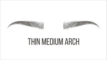 Thin Medium Arch Brows Shape Vector Business Card Template. Female Brows Style With Title Isolated Clipart. Microblading, Tattooing Master Salon, Parlor. Trendy Makeup. Eyebrows Realistic Illustration