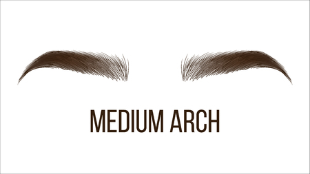 Medium Arch Brows Shape Vector Web Banner Template. Female Brows Style, Type Isolated Clipart. Microblading Master Salon, Beautician Parlor. Trendy Makeup. Women Eyebrows Realistic Illustration