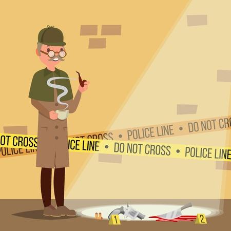 Crime Scene . Detective Character Man. Crime Scene Investigation. Snoop, Shamus. Flat Cartoon Illustration Standard-Bild - 120857240