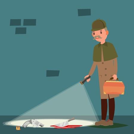Crime Scene . Detective At Crime Scene. Flat Cartoon Illustration