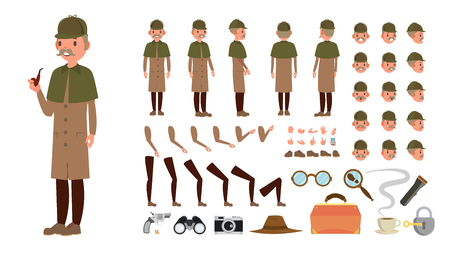 Detective . Animated Tec Character Creation Set. Snoop, Shamus, Spotter Full Length, Front, Side, Back View, Poses Emotions Hairstyle Gestures Isolated Illustration
