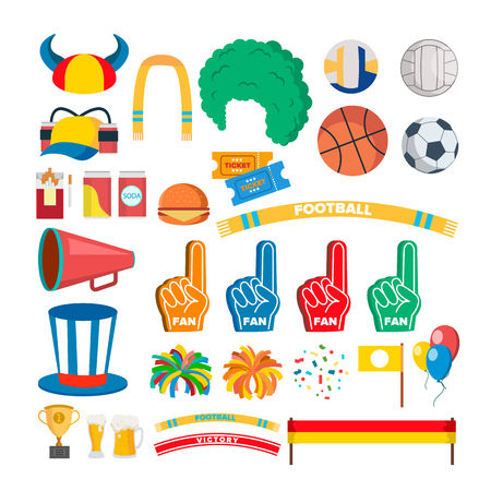 Sport Team Supporters Tools Set . Accessories. Hat, Flag, Scarf. Isolated Flat Illustration Banco de Imagens