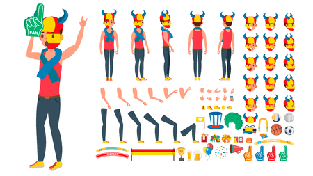 Sports Fan . Animated Character Creation Set. Man National Team Supporter. Full Length, Front, Side, Back View, Accessories, Poses, Face Emotions, Gestures Isolated Cartoon Illustration