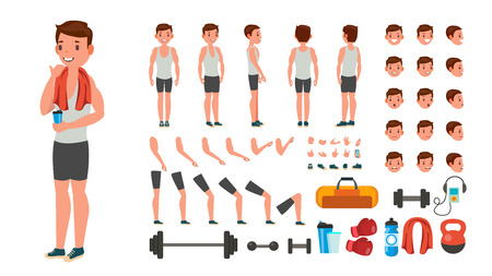 Fitness Man . Animated Athlete Character Creation Set. Full Length, Front, Side, Back View, Accessories, Poses, Face Emotions, Various Hairstyles Gestures Isolated Cartoon Illustration Archivio Fotografico