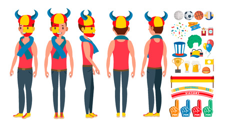 Sports Fan . Outfits Shouting. Cheering At The Stadium. Different Poses. Isolated Flat Cartoon Character Illustration