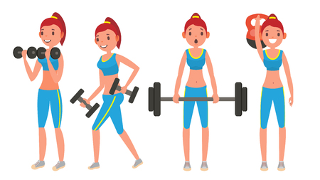 Fitness Girl . Set. Modern Workout With Stretching, Weights. Healthy Lifestyle. Cartoon Character Illustration Stock Photo