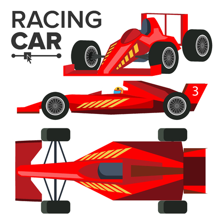 Racing Car Bolid . Sport Red Racing Car. Front, Side, Back View. Auto Illustration