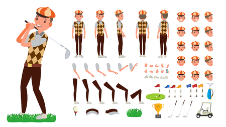 Golf Player . Animated Character Creation Set. Football Tools And Equipment. Full Length, Front, Side, Back View, Accessories, Poses, Face Emotions, Gestures Isolated Cartoon Illustration