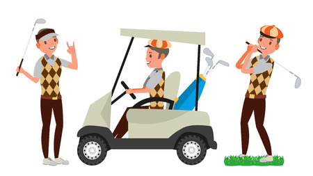 Professional Golf Player . Playing Golfer Male. Different Poses. Isolated On White Cartoon Character Illustration