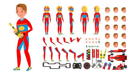 Sport Car Racer Male . Red Uniform. Rally Race Car Driver. Animated Character Creation Set. Man Full Length, Front, Side, Back View. Auto Drawing Accessories, Emotions. Illustration