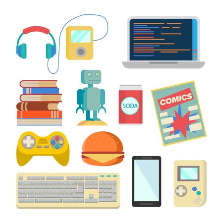 Nerd Items Set . Geek Accessories. Headphones, Player, Laptop, Robot, Toy, Phone Keyboard Tetris Comics Soda Burger Books Isolated Illustration