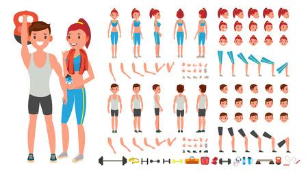 Ragazza in forma, uomo. Animato Sport maschio, set di creazione di personaggi femminili. Figura intera, anteriore, laterale, vista posteriore, accessori, pose, gesti di emozioni del viso isolati Cartoon Illustration