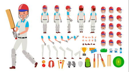 Cricket Player Male . Sport Cricket Player Man. Cricketer Animated Character Creation Set. Full Length, Front, Side, Back View, Accessories, Poses, Emotions, Gestures Isolated Illustration Imagens