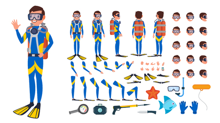 Diver Man . Animated Character Creation Set. Under Water. Scuba Diver. Snorkeling Diving. Full Length, Front, Side, Back View, Poses Face Emotions Gestures Illustration