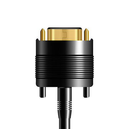 Realistic Dvi Plug Computer To Monitor Vector. Dvi Black Electric Wire Cable With Yellow Pins Digital Connector With Display Top View Isolated Image On White Background. 3d Illustration Vector Illustration