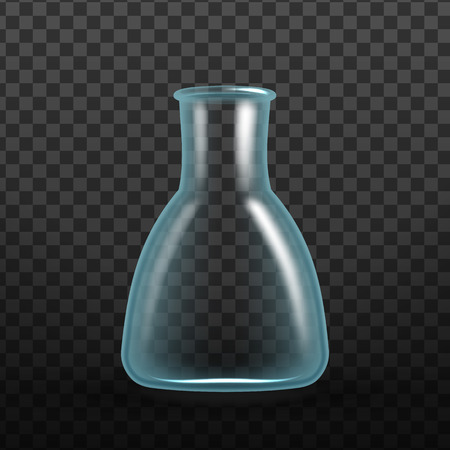 Realistic Chemical Laboratory Test Tube Vector. Tube Erlenmeyer Flask Have Wide Bases, With Sides That Taper Upward To Short Vertical Neck Isolated On Transparency Grid Background. 3d Illustration