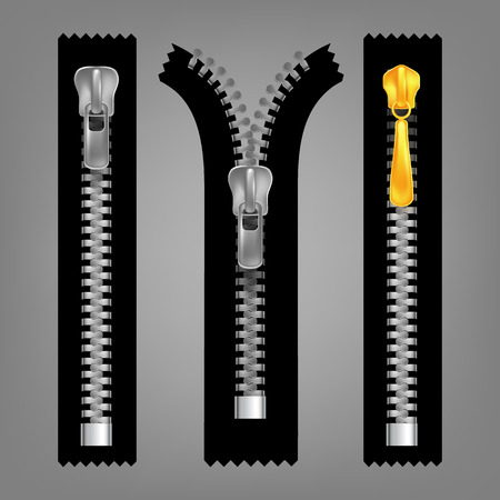 Different Open And Closed Zippers Set Vector. Different Gold And Silver Metallic Fasteners And Zippers. Garment Components And Handbag Accessories. Grey Background Isolated 3d Illustration