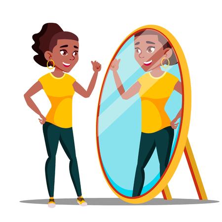 Personaggio donna guarda lo specchio e ammira il vettore. Ragazza narcisistica che parla con la riflessione nello specchio, fiducia in se stessi. Concetto egoistico di motivazione. Illustrazione del fumetto piatto isolato