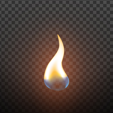 Realistic Candlelight Fire Element Design Vector. Red Hot Burning Fire Flame Or Matchstick Light Of Candle Decoration Closeup Isolated On Transparency Grid Background. 3d Illustration Ilustrace