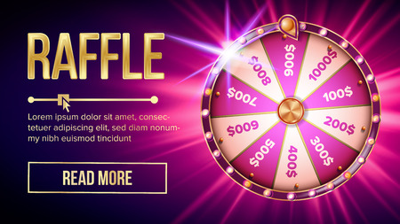 Internet Raffle Roulette Fortune Banner Vector. Shiny Raffle Casino Spinning Wheel For Game And Win Jackpot Online Lottery Marketing Concept. Realistic Style Colorful Stock Illustration Ilustrace