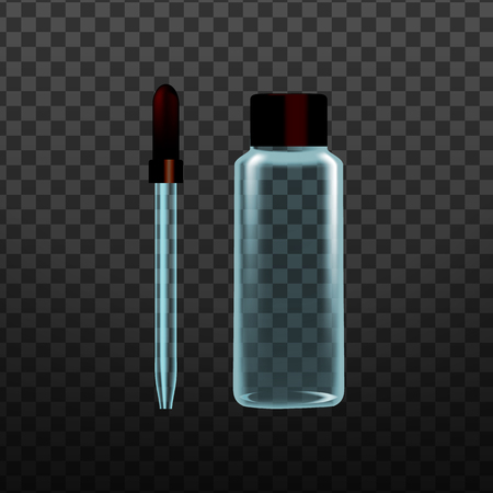 Realistic Laboratory Tool Glass Pipette Vector. Medicine And Chemistry Dropper Pipette For Transport Measured Volume Of Liquid Isolated On Transparency Grid Background. 3d Illustration