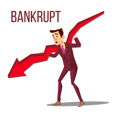 Character Bankrupt Man Hold On Red Arrow Vector. Bankrupt Businessman With Symbol Of Bankruptcy And Failure, Crisis And Financial Losses On Stock Exchange Market. Flat Cartoon Illustration Illustration