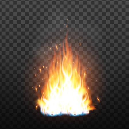 Realistic Campfire Flame With Sparks Effect Vector. Bright Campfire With Sparks And Smoke Effect. Fiery Heat Brush Colorful Animation Image On Transparency Grid Background. 3d Illustration Ilustrace