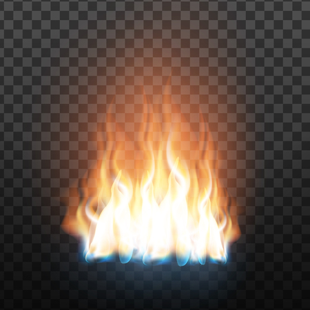 Realistic Decorative Flammable Fire Flame Vector. Animation Heat Overlay Brush, Burning Fire With Glowing Particles Fireball Effect On Transparency Grid Background. 3d Illustration Ilustrace