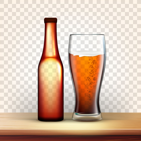 Realistic Bottle And Glass With Bubble Beer Vector. Mockup Of Brown Bottle With Metallic Cap On Top And Blank Label Near Foamy Drink In Goblet Isolated On Transparency Grid Background. 3d Illustration Banco de Imagens - 123124649