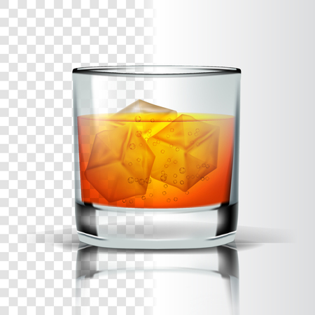 Realistic Glass With Bourbon And Ice Cubes Vector. Whisky Or Bourbon Distilled And Aging In Wooden Barrel Alcoholic Drink With Bubbles Isolated On Transparency Grid Background. 3d Illustration Çizim